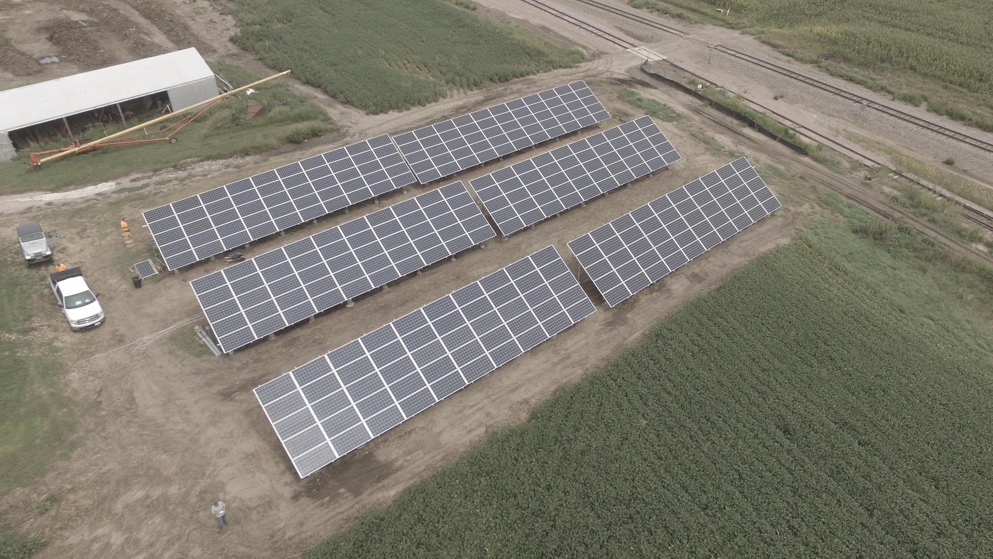 Bird's eye view of a solar installation