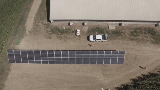 Bird's eye view of a solar panel